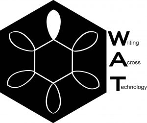 The logo for Writing Across Technology, which is a black hexagon with a white abstract design resembling wires overlaying it