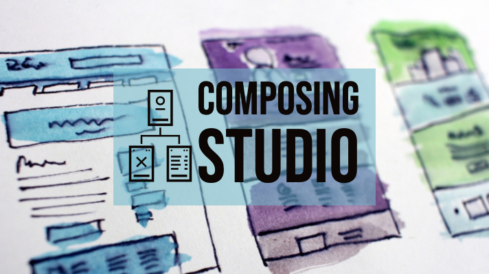 "Photograph of handrawn sketch of User Design with title, ""Composing Studio"""